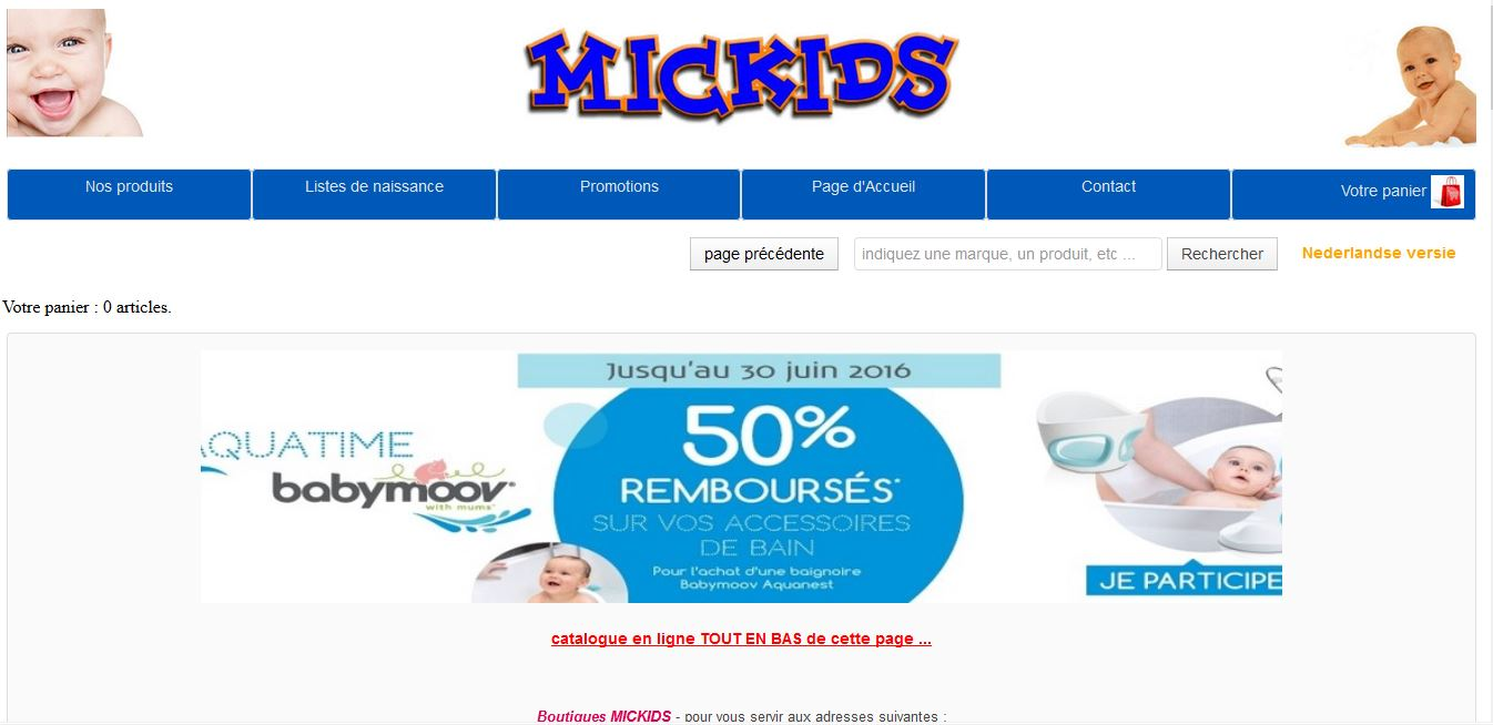Mickids.be E-commerce Puériculture